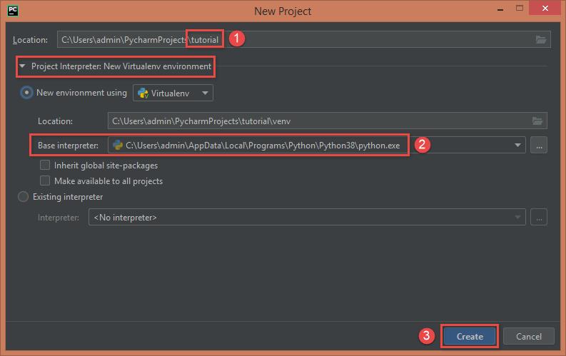 PyCharm Create New Project